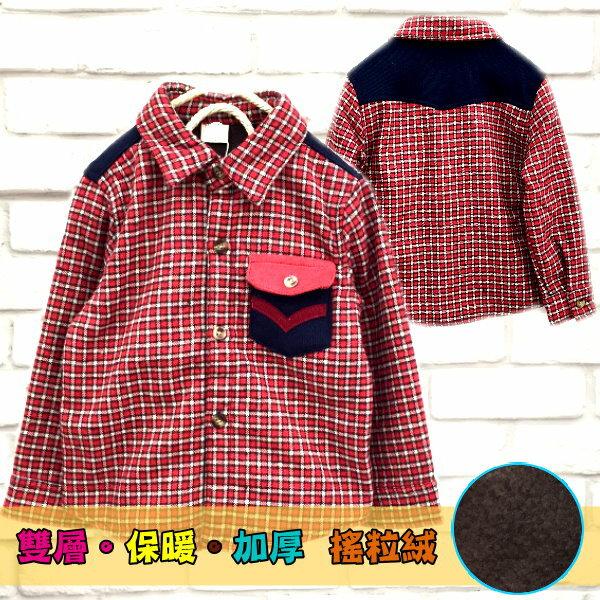 【班比納精品童裝】彈力保暖雙層加厚搖粒絨小格紋V字口袋襯衫/小外套-紅色【BM151119020】