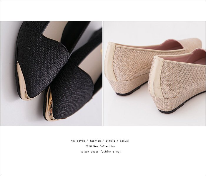 格子舖*【KW3108】MIT台灣製 上班族百搭低調奢華高質感金蔥皮革 3.5CM厚底增高楔型鞋金屬尖頭包鞋 2色 2