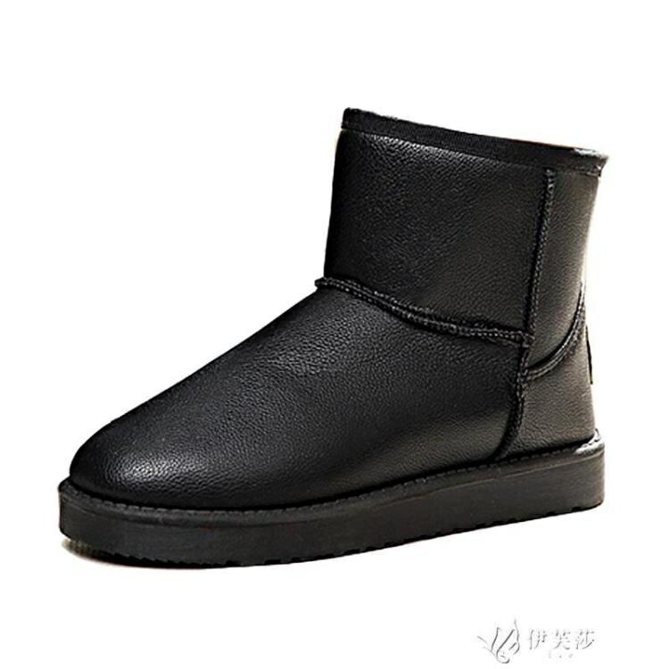 冬季2020新款防水皮面雪地靴女短筒短靴保暖黑色防滑加厚加絨