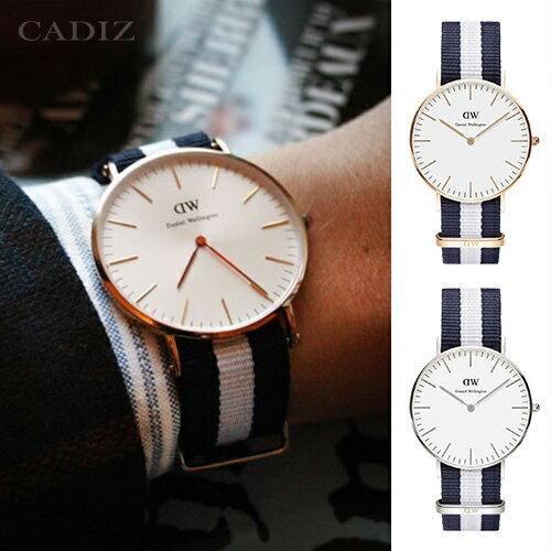 【Cadiz】瑞典正品 Daniel Wellington 手錶 0104DW玫瑰金 0204DW銀色 CLASSIC GLASGOW 藍白尼龍錶帶 40mm 兩年保固