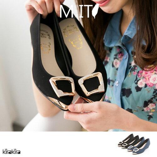 包鞋-閃鑽方型金飾低跟楔型尖頭娃娃鞋MIT -2鞋-色【011600019】-預購