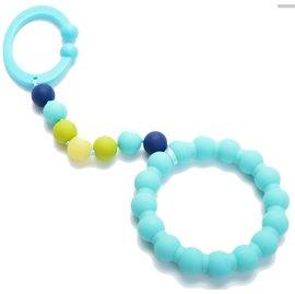 【淘氣寶寶】美國CHEWBEADS嬰兒固齒推車玩具-土耳其藍【無細小裝飾物並採一體成型矽膠圈,預防咬珠散落及誤食】