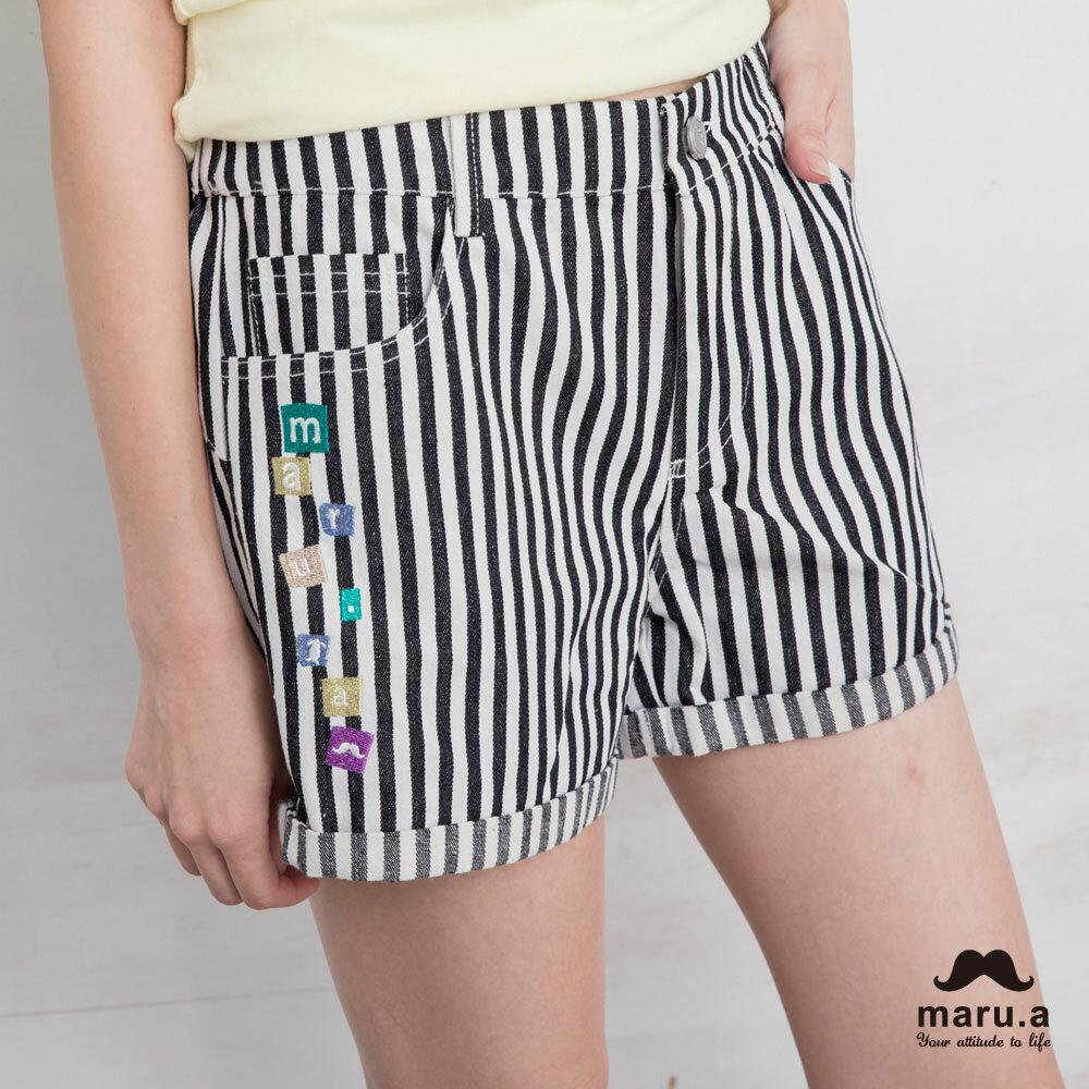【maru.a】彩色方塊刺繡直條紋短褲(2色)7925112 0