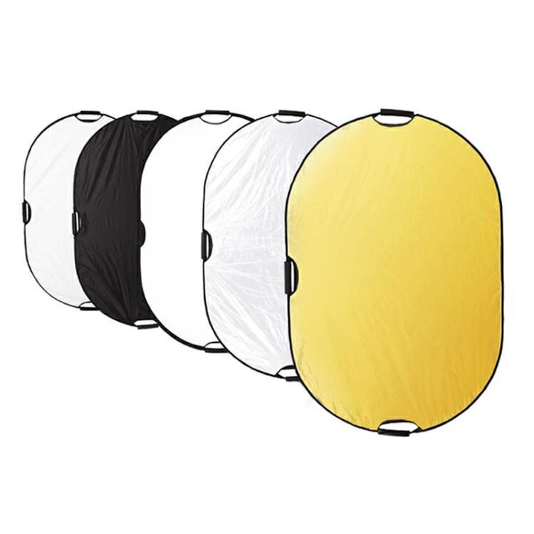 反光板 selens橢圓形反光板80*120cm補光板五合一柔光板便攜折疊手提攝影拍照手機直播手持影樓