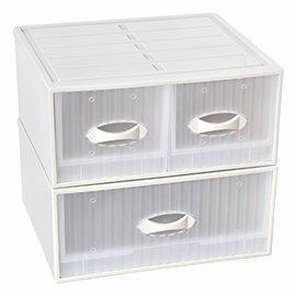 【nicegoods】 亞米單層抽屜整理箱 2入(單抽+雙抽)(收納櫃 抽屜櫃 衣櫃 塑膠 整理箱)