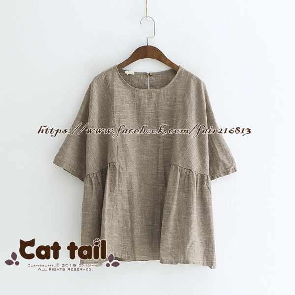 《貓尾巴》LZ-03250韓版休閒文藝條紋娃娃款短袖上衣(森林系日系棉麻文青清新)