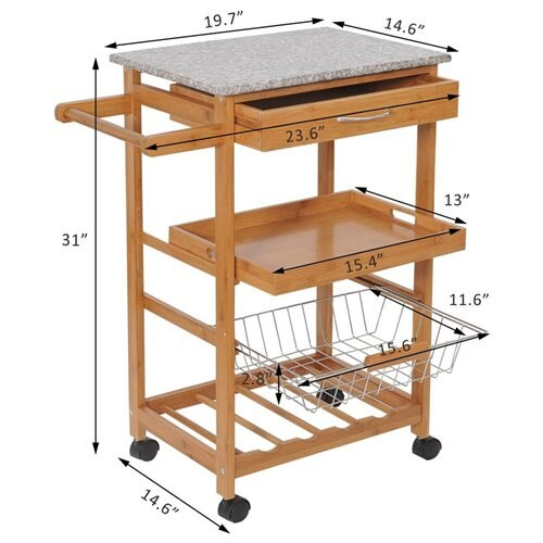 Aosom Homcom 31 In Rolling Wooden Kitchen Trolley Cart With Wine