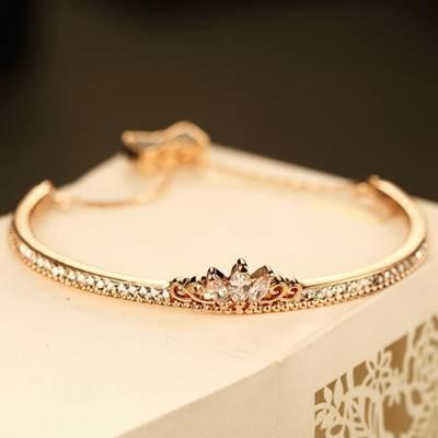 玫瑰金純銀手鍊 鑲鑽手環~高貴精美皇冠百搭七夕情人節生日 女飾品73bx32~ ~~米蘭
