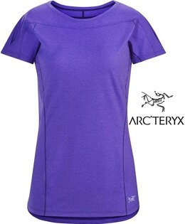 Arcteryx始祖鳥Taema透氣快乾短袖圓領排汗衣排汗T恤18909女款木槿紫