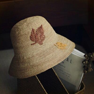 草帽手工編織漁夫帽-渡假休閒簡約楓葉女遮陽帽73si39【獨家進口】【米蘭精品】