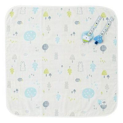 奇哥 森林家族四層紗小蓋被禮盒-藍色