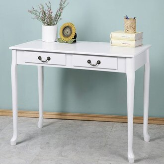YoStyle 典雅歐風二抽書桌(純白色) 化妝桌 工作桌 NB桌