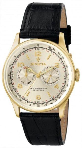 INVICTA復古系列-都會時尚風格腕錶(金)