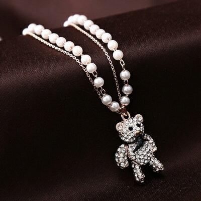 ~玫瑰金項鍊 鑲鑽純銀吊墜~ 珍珠可愛小熊七夕情人節 女飾品73dw114~ ~~米蘭 ~