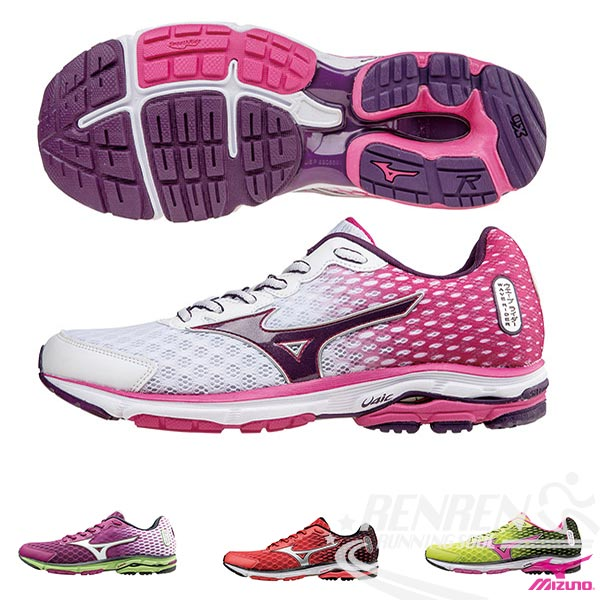 MIZUNO 美津濃  WAVE RIDER 18 女慢跑鞋 路跑(白*粉紅*紫)2015年下半年新款