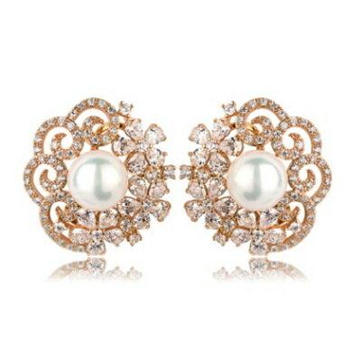 純銀耳環鍍18K金鑲鑽耳飾~華麗高貴婚禮晚宴生日情人節 女飾品色73cr111~ ~~米蘭