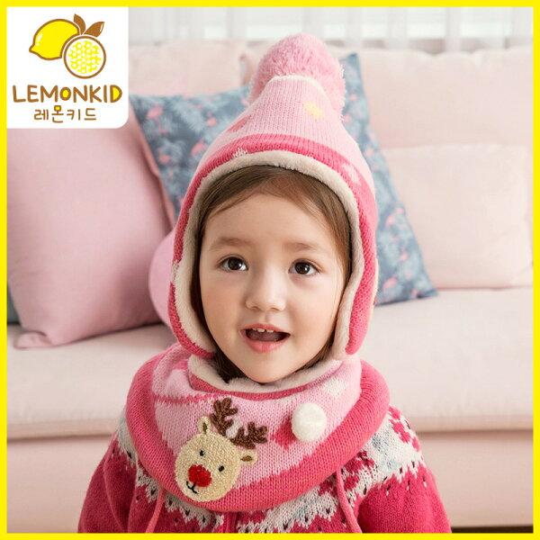 Lemonkid:Lemonkid◆聖誕麋鹿毛球毛線帽二件套