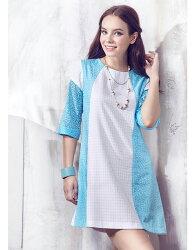 【JL JOCELIN】六分袖印花洋裝-葉型圖紋(藍)