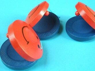 響板 木質響板 節拍響板(藍紅雙色)單個散裝/一個入 促[#30]~空白無笑臉圖案~5888