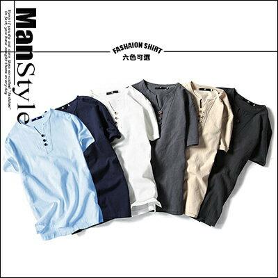~ ~ 2件699元~ManStyle潮流 日系亞麻素面開叉短袖V領薄款套頭T恤上衣男~R