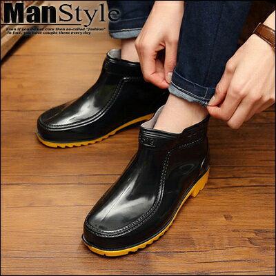 懶人短靴ManStyle潮流嚴選牛筋雨鞋男士低筒鞋防滑耐磨防水雨靴水鞋塑膠鞋套鞋【09S0997】