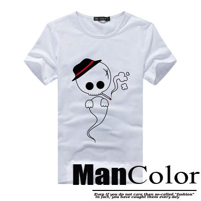 ★組合-任2件288元★ManStyle潮流嚴選【R9B0179】韓系可愛骷髏頭大頭印花短袖T恤上衣男
