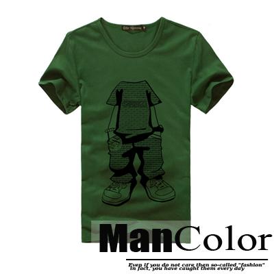 ★組合-任2件288元★ManStyle潮流嚴選【R9B0200】韓系舞蹈街頭小孩印花軍綠短袖T恤上衣男