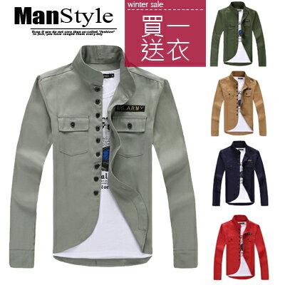 ManStyle潮流嚴選(買一送一上衣)美式US ARMY徽章立領口袋軍裝素面長袖襯衫外套【W9F0039】