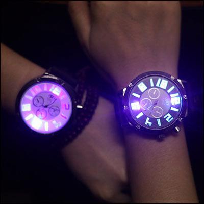 男錶女錶情侶ManStyle潮流 潮牌發光夜光原宿風 矽膠果凍錶手錶~09S0412~