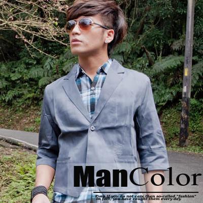 限時2件399-ManStyle潮流嚴選韓版流行不敗經典創造款簡約設計時尚百搭七分袖西裝外套【R1F0840】