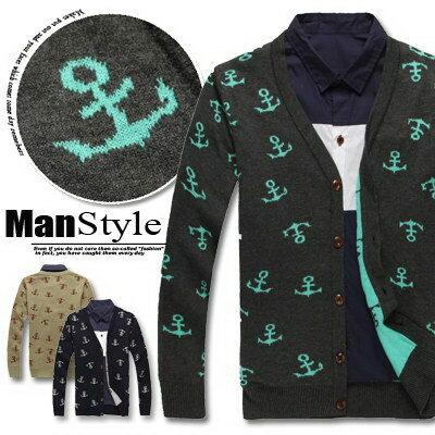 ManStyle:ManStyle潮流嚴選。暖暖秋冬海軍風船錨印花木釦毛背心開襟針織衫外套【01F1678】