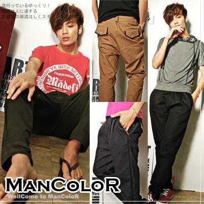 ManStyle:☆ManStyle☆【01G0916】日韓時尚新作個性打摺皮革口袋窄管休閒飛鼠褲-4色