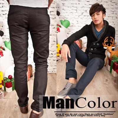 ManStyle~01G1137~ 不敗 款合身立體剪裁平口袋 帥勁窄管長褲~5色