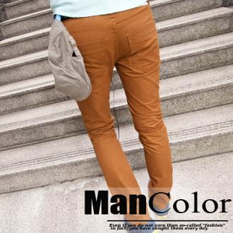 ManStyle【A1G1326】超顯瘦剪裁直筒大地色系基本款休閒卡其長褲-1色