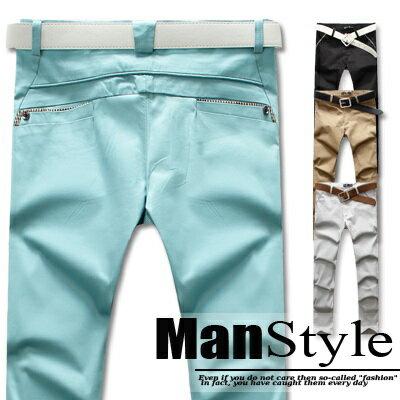 ManStyle【01G1420】反摺格紋層次口袋硬挺窄管休閒素面長褲歐美都會雅痞時尚風