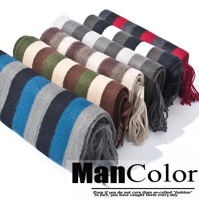 ManStyle:☆ManStyle☆【01J0014】韓系聖品舒適毛料自然色系直紋針織流蘇尾保暖長圍巾-6色