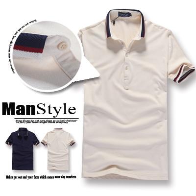 ~ManStyle~~01P0022~賽車橫條紋拼接網球立領短袖上衣POLO衫~首爾街頭