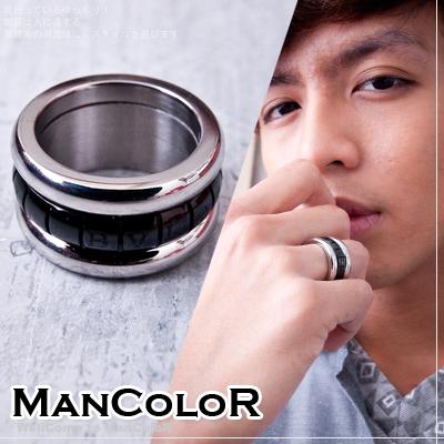 ~ManStyle~~01S0486~韓系三層 黑色雙色配色方塊戒指~1色~~0529~0