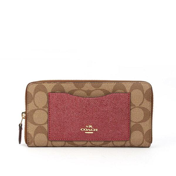 【COACH】PVCLOGO口袋ㄇ拉長夾禮盒(金屬紅)F22712IMMWK