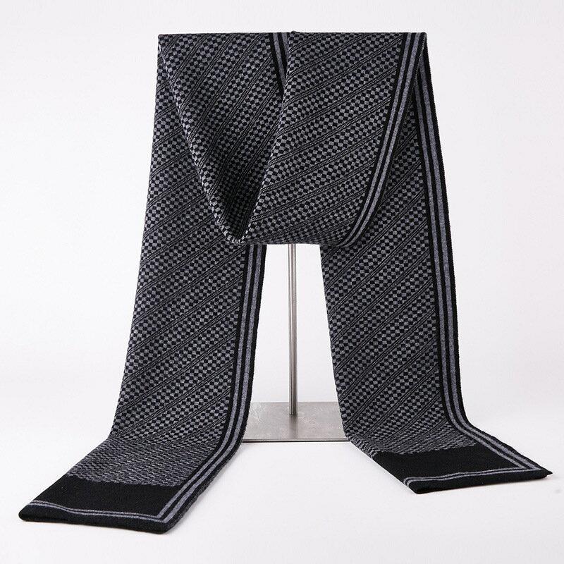 圍巾羊毛披肩-條紋格子拼色針織男配件3色73wh22【獨家進口】【米蘭精品】