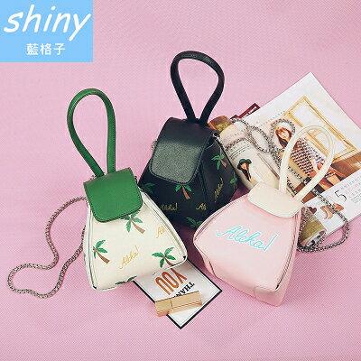 shiny藍格子:全店滿600折50【P157】shiny藍格子-迷你可愛.三角粽子迷你單肩手拎鍵條包
