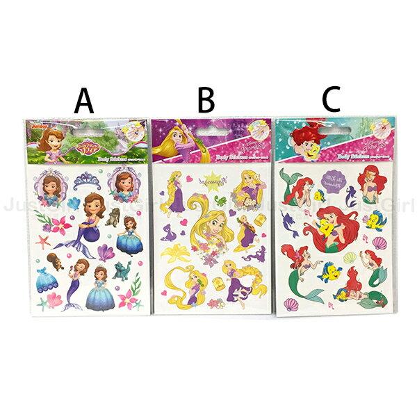 迪士尼 紋身貼紙 小美人魚 長髮公主 小公主蘇菲亞 玩具 文具 正版日本進口 JustGirl