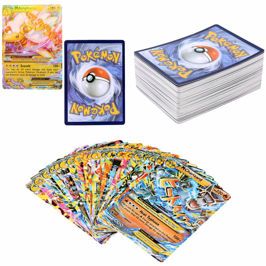 100 PCS Pokemon TCG MEGA Flash Cards PikachuBall Holo Pokemon EX Card 1