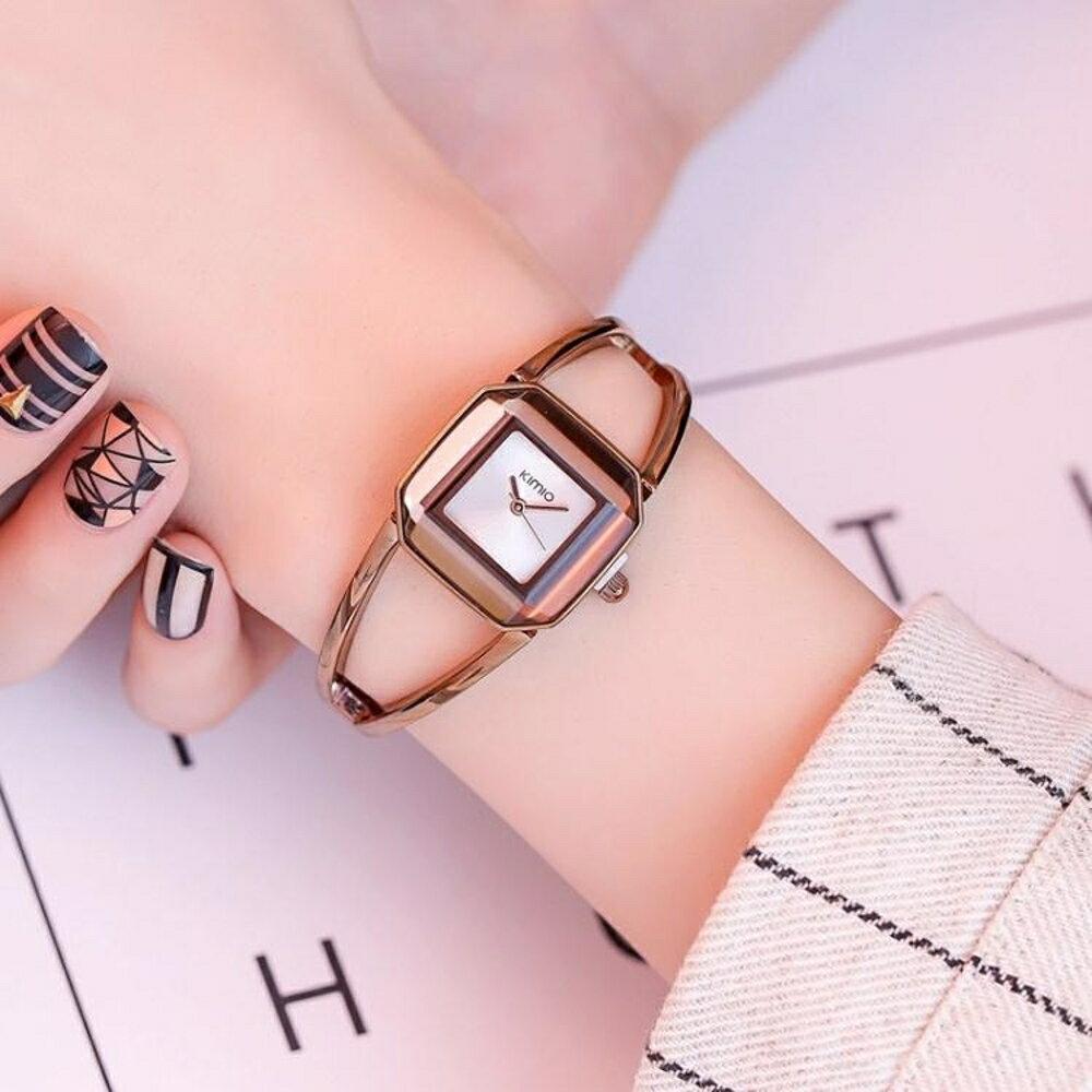 時尚學生手錶女潮簡約復古鋼帶腕錶方盤防水女士手錶鍊條錶 名創家居館