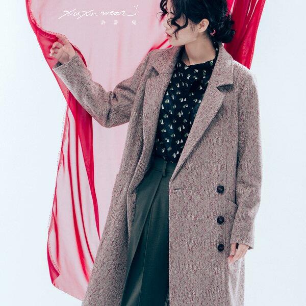 許許兒∵午夜巴黎毛料織點長版大衣-磚紅點點