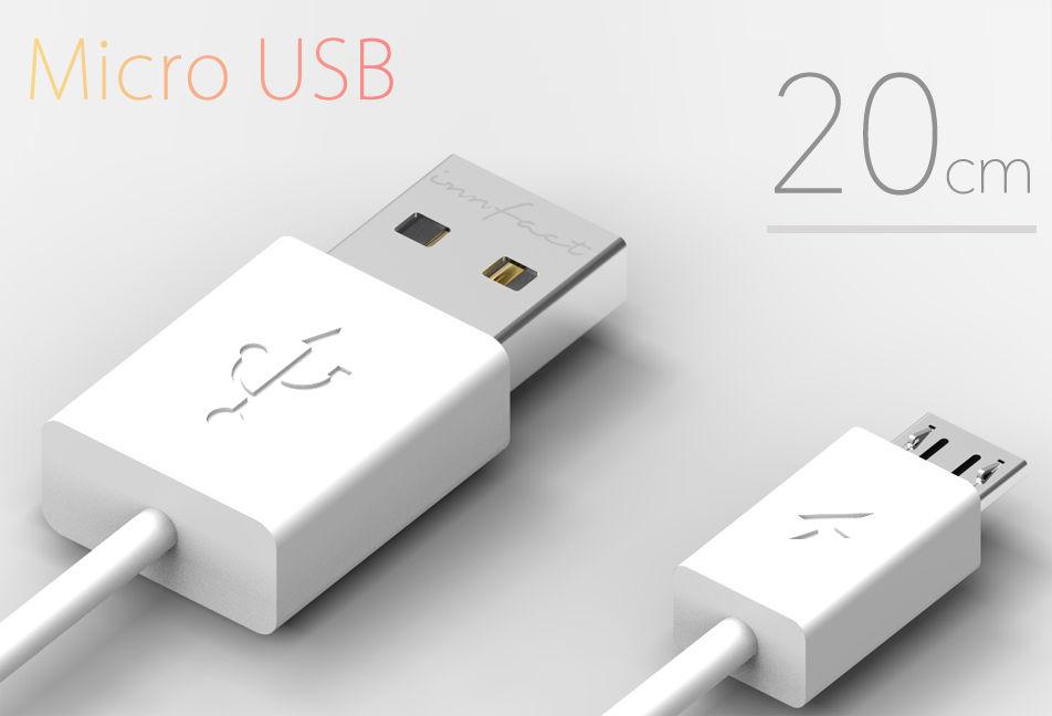 白色款-innfact 橘色閃電 Micro USB 快速充電線20cm