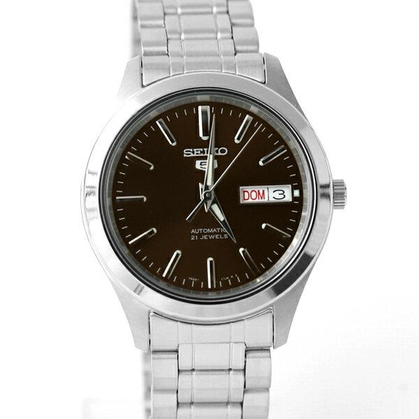 手錶 SEIKO簡約銀黑機械錶【NES4】柒彩年代