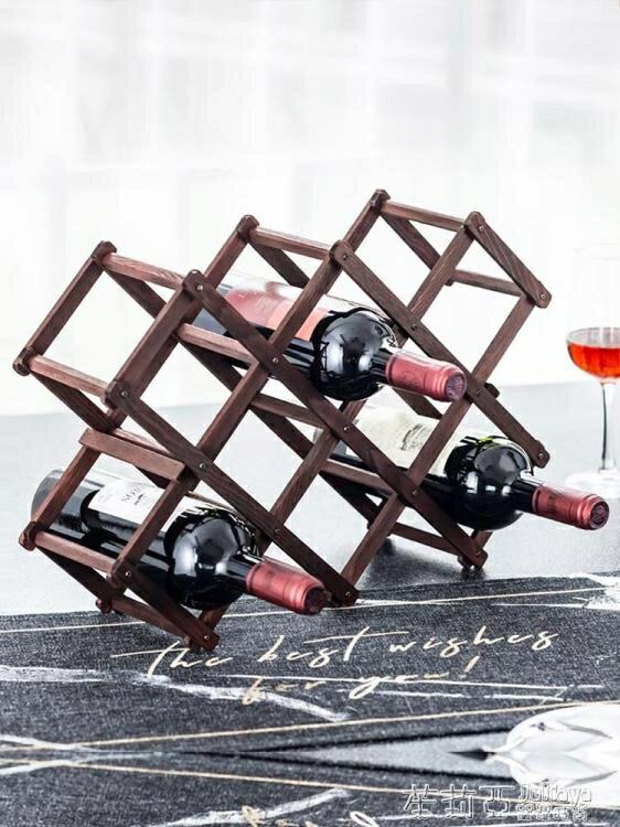 紅酒架擺件創意葡萄酒櫃架實木展示架家用酒瓶架客廳酒架子裝飾品  時尚學院