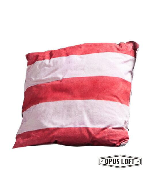 復古工業風紅白條紋抱枕