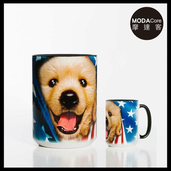 【摩達客】(預購)美國TheMountain愛國小黃金獵犬圖案設計藝術馬克杯440ml
